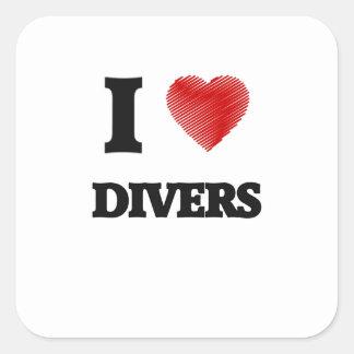 I love Divers Square Sticker
