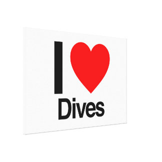 i love dives stretched canvas print