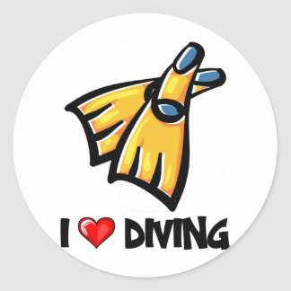 I Love Diving Classic Round Sticker
