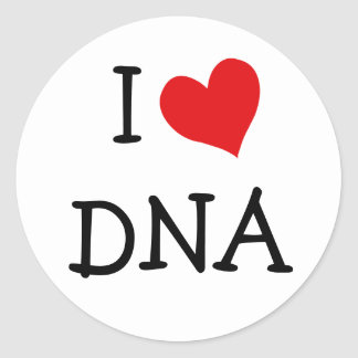 I Love DNA Classic Round Sticker