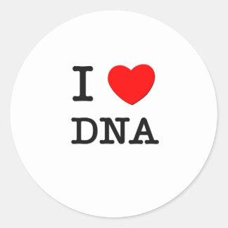 I Love DNA Round Sticker
