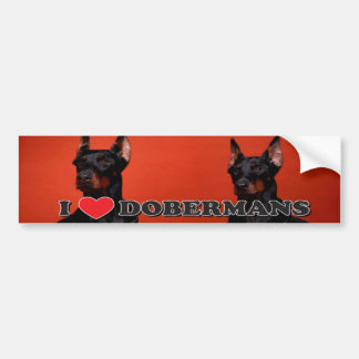 I Love Doberman Bumper Sticker