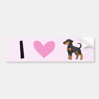 I Love Doberman Pinschers (floppy ears) Bumper Sticker
