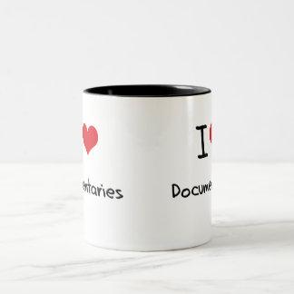 I Love Documentaries Two-Tone Coffee Mug