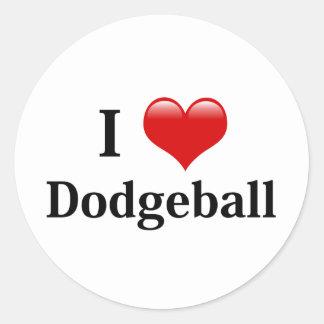 I Love Dodgeball Round Sticker