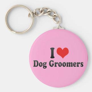I Love Dog Groomers Keychains