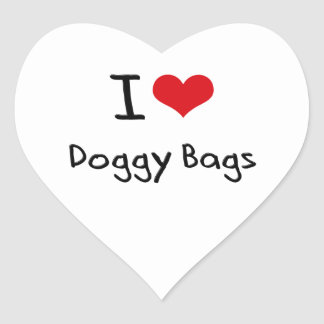 I Love Doggy Bags Heart Sticker