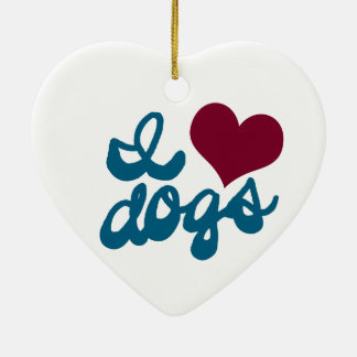 I Love Dogs Ceramic Heart Decoration