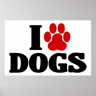 I Love Dogs Emblem Print