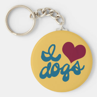 I Love Dogs Basic Round Button Key Ring