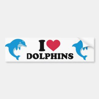 I Love Dolphins Bumper Sticker