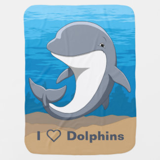 I Love Dolphins Cute Bottlenose Baby Blanket