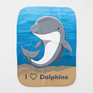 I Love Dolphins Cute Bottlenose Burp Cloth