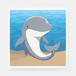 I Love Dolphins Cute Bottlenose Disposable Serviettes