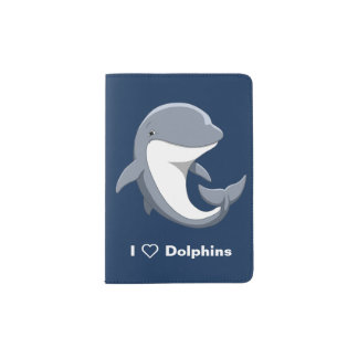 I Love Dolphins Cute Bottlenose Passport Holder