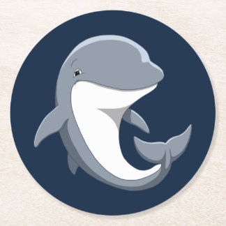 I Love Dolphins Cute Bottlenose Round Paper Coaster