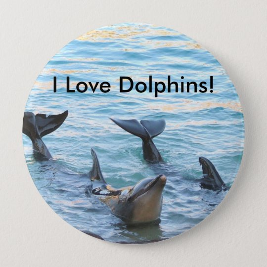 I Love Dolphins! Dolphin Photo 10 Cm Round