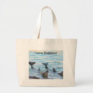 I Love Dolphins! Dolphin Photo Large Tote Bag