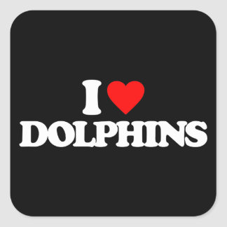 I LOVE DOLPHINS SQUARE STICKERS