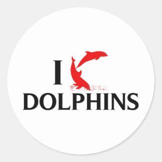 I Love Dolphins Classic Round Sticker