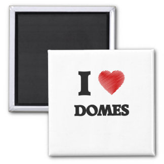 I love Domes Square Magnet