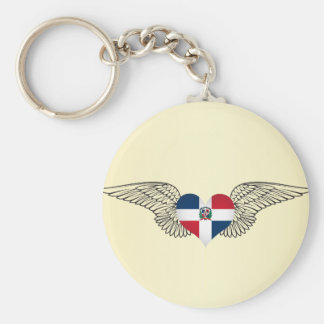 I Love Dominican Republic -wings Basic Round Button Key Ring