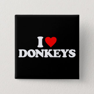 I LOVE DONKEYS 15 CM SQUARE BADGE