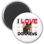 I Love Donkeys 6 Cm Round Magnet