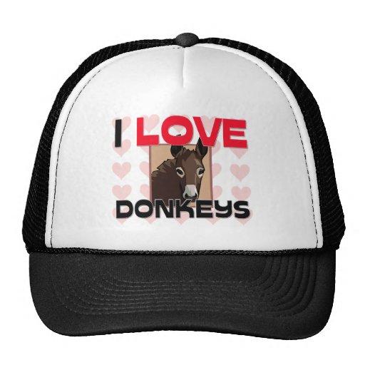 I Love Donkeys Trucker Hats