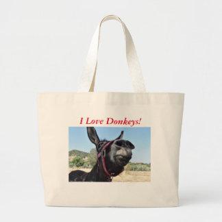 I Love Donkeys! Large Tote Bag