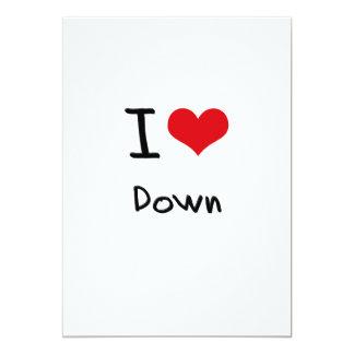 I Love Down 13 Cm X 18 Cm Invitation Card