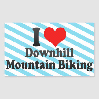 I love Downhill Mountain Biking Rectangular Sticker