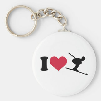 I love downhill skiing basic round button key ring
