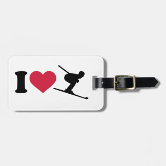 I love downhill skiing luggage tag