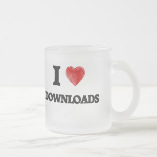 I love Downloads Frosted Glass Mug