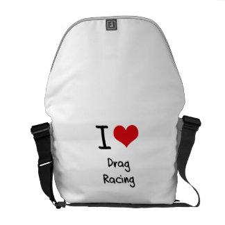 I Love Drag Racing Messenger Bags