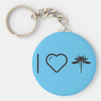 I Love Dragonflies Basic Round Button Key Ring