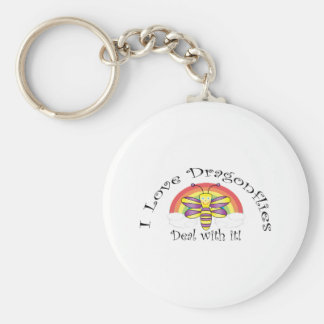 I love dragonflies deal with it basic round button key ring