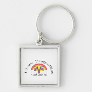 I love dragonflies deal with it Silver-Colored square key ring