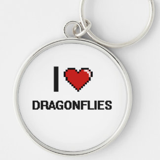 I love Dragonflies Digital Design Silver-Colored Round Keychain