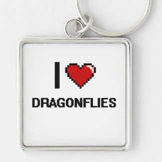 I love Dragonflies Digital Design Silver-Colored Square Keychain