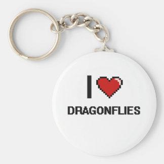 I love Dragonflies Digital Design Basic Round Button Keychain