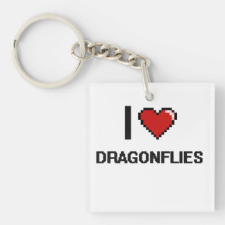 I love Dragonflies Digital Design Single-Sided Square Acrylic Keychain