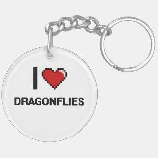 I love Dragonflies Digital Design Double-Sided Round Acrylic Keychain