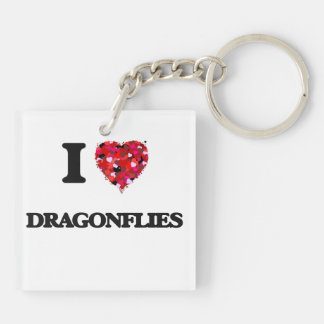 I love Dragonflies Double-Sided Square Acrylic Key Ring