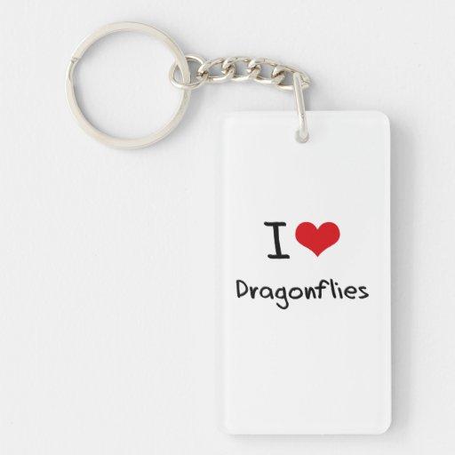 I Love Dragonflies Rectangular Acrylic Keychains