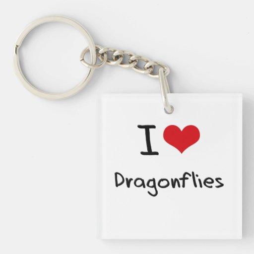 I Love Dragonflies Square Acrylic Key Chains