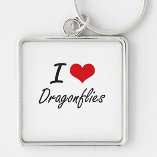 I love Dragonflies Silver-Colored Square Key Ring