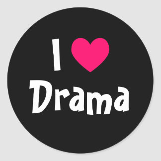 I Love Drama Round Sticker