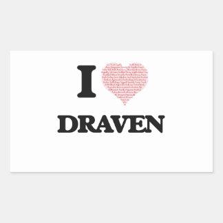 I Love Draven (Heart Made from Love words) Rectangular Sticker